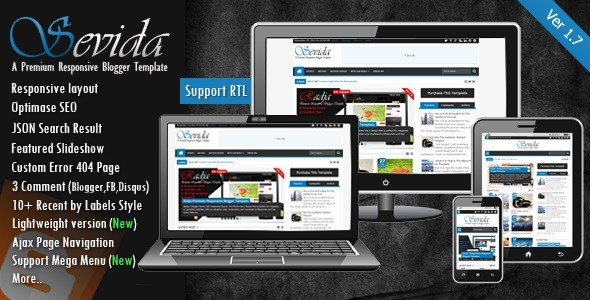 Download Sevida v1.7 Responsive Magazine Blogger Template