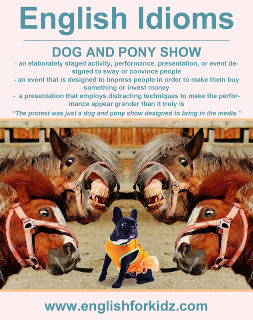 English idiom picture - dog and pony show