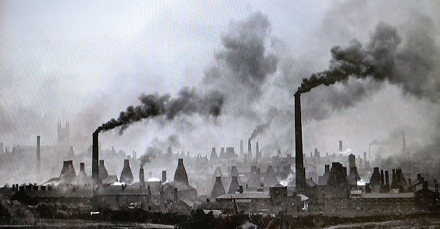 Potteries bottle ovens and smoke in the landscape of Stoke-on-Trent
