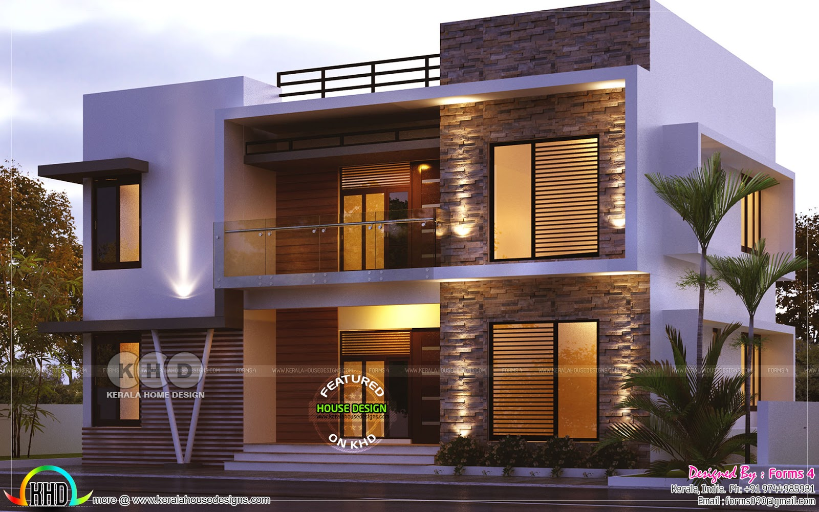 Day and night view of 4 bedroom 1800 sq-ft - Kerala home ...