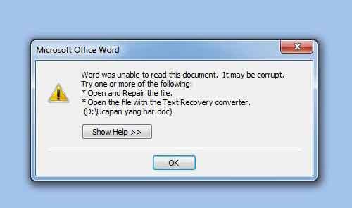 Cara mengatasi dokumen word yang rusak