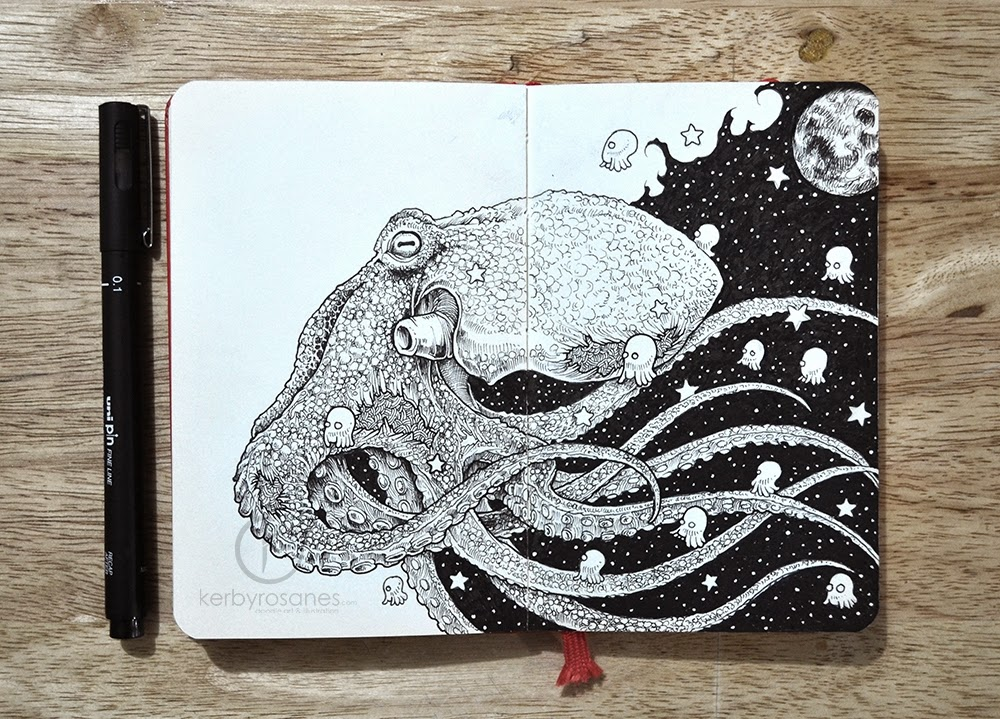 02-Mollusca-Kerby-Rosanes-Detailed-Moleskine-Doodles-Illustrations-and-Drawings-www-designstack-co