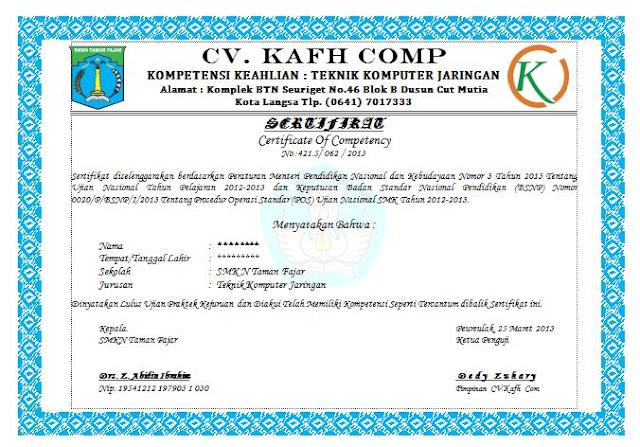 Contoh Sertifikat Uji Kompetensi Kejuruan (UKK) SMK