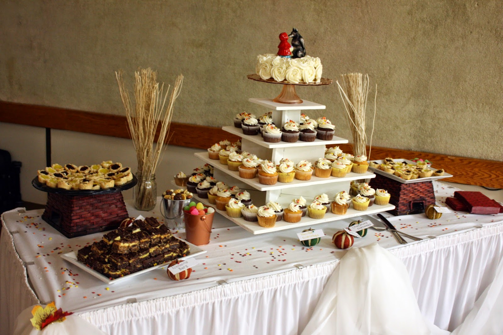Harvest themed wedding dessert table
