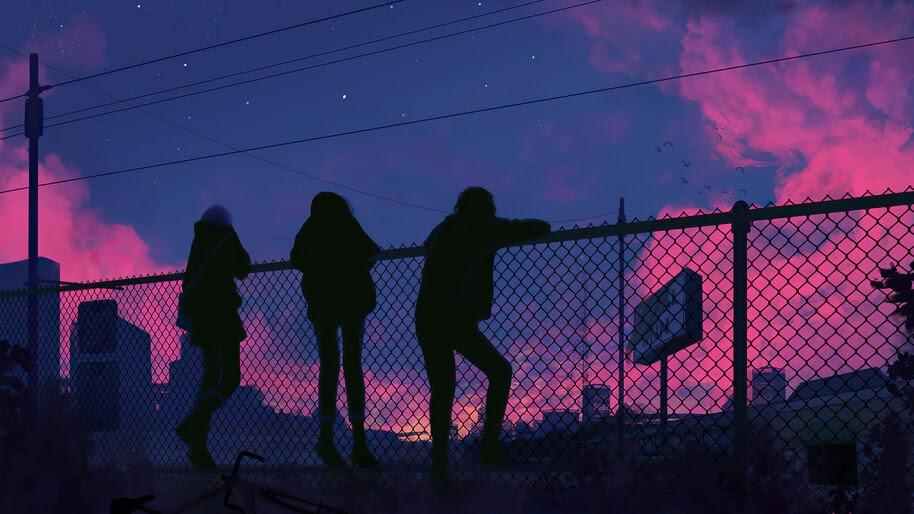 Silhouette, Fence, Night, Sky, Digital Art, 4K, #6.1276