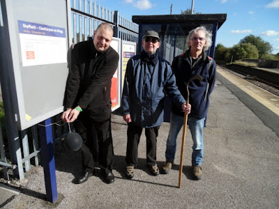 Picture: A Grim Reaper moment on Brigg railway station to mark the 25th anniversary in 2018 of the death of the town's Monday to Friday passenger train service -  reduced to Saturdays only - see Nigel Fisher's Brigg Blog