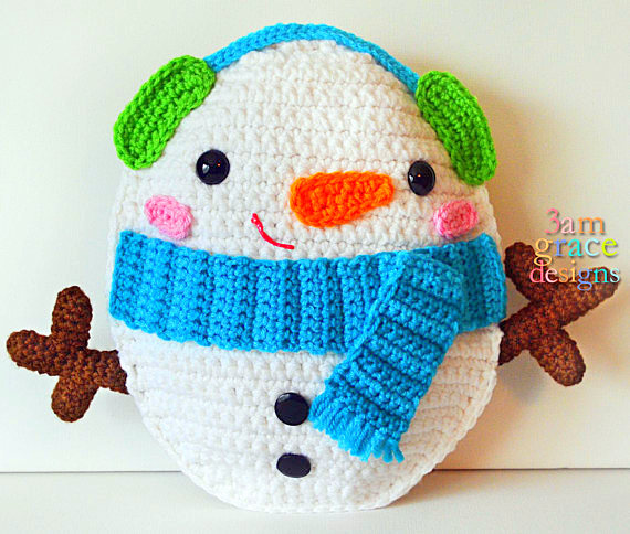 snowman Kawaii Pillow Cuddler Crochet Pattern