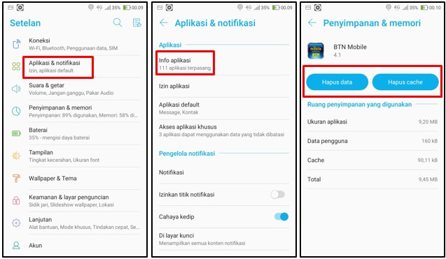 Penghapusan Data dan Ceche BTN Mobile