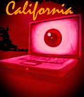 "image of laptop computer with eye on screen and text ""California"" Matt Cordell is a great privacy lawyer"