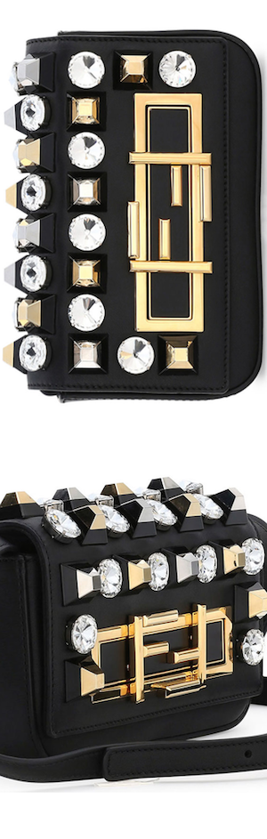 Fendi Baguette Mini Studded/Rhinestone Bag, Black Multi