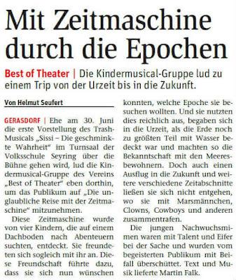 """Die Kindermusical- Gruppe des Vereins """"Best of Theater"""" lud nach Seyring, um das Publikum auf """"Die unglaubliche Reise mit der Zeitmaschine"""" mitzunehmen."""