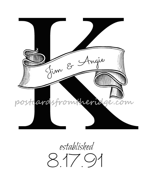 Personalized, printable artwork with your names, initial, and wedding date. So pretty! From Postcards from the Ridge.