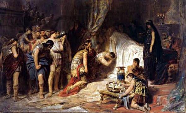Death of Alexanders the Great by Karl T. von Piloty, Macabre Paintings, Horror Paintings, Freak Art, Freak Paintings, Horror Picture, Terror Pictures