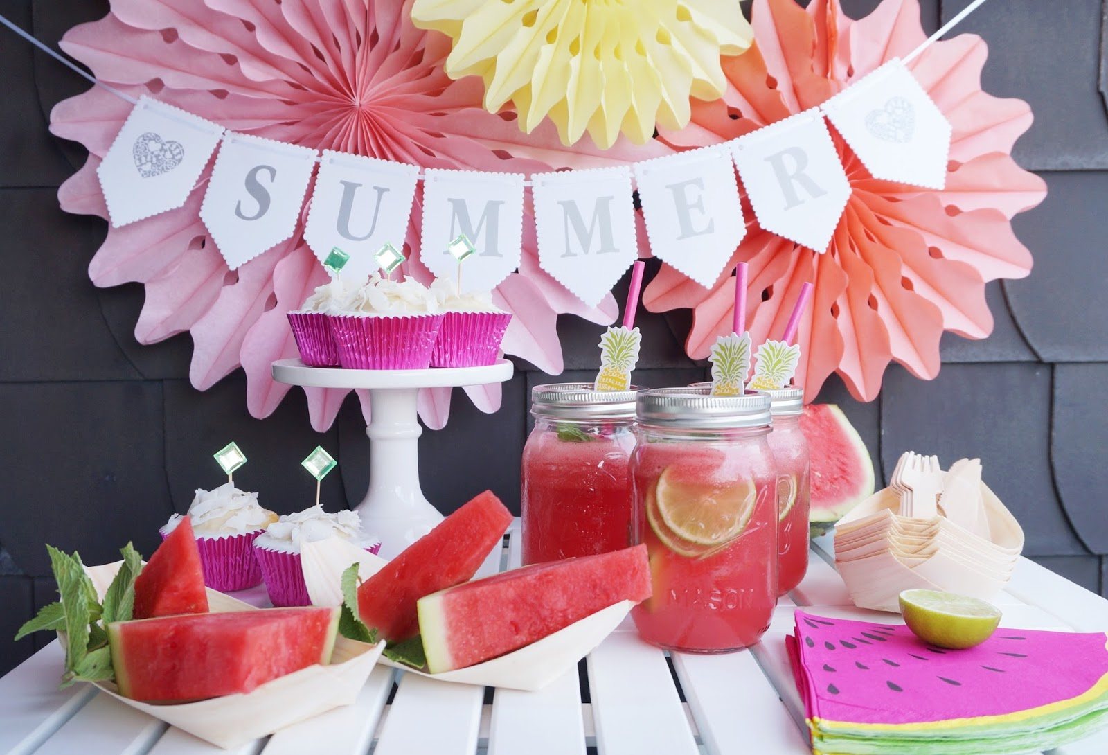 Deko Sommerparty Sommerparty Mit Melonenlimonade And Coconut Cupcakes