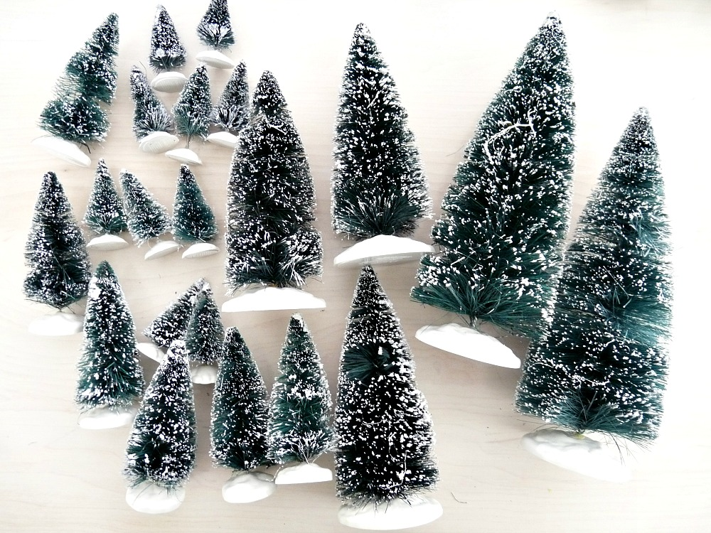 Lemax snow covered bottle brush trees review