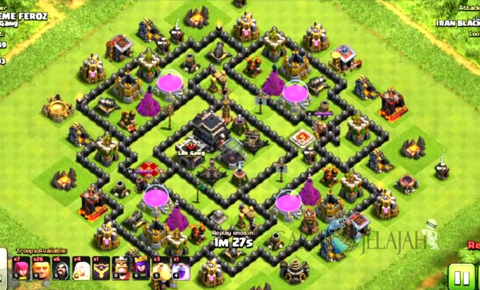 Base Farming TH 9 COC Update Bomb Tower Terbaru 2017 Tipe 6