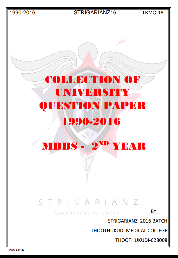MBBS 2ND YEAR IMPORTANT QUESTIONS | Strigarianz 16