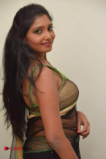 Actress Eeesha Chamundi Pictures in Black Transparent Saree  0050.jpg