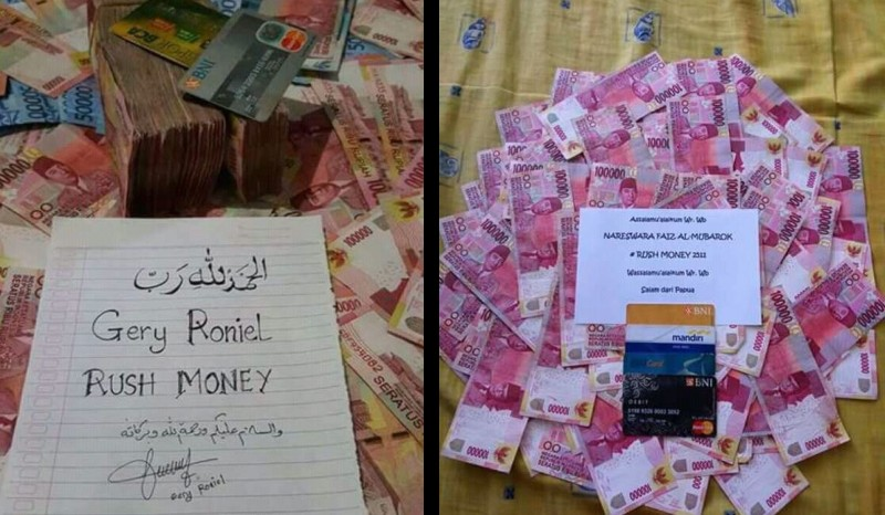 Abu Uwais pamer uang hasil rush money