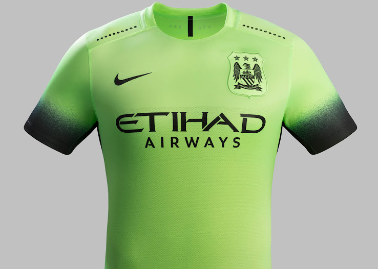 36a1f13eb25 The new Nike Manchester City Third Kit boasts a striking light green design  with black applications.