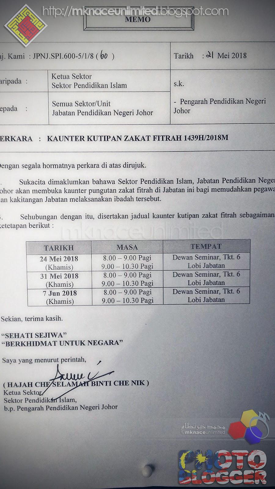 Kaunter Kutipan Zakat Fitrah 1439h 2018 Jpn Johor