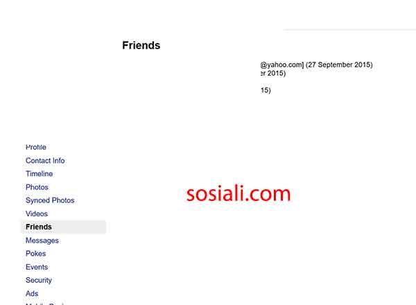 Email facebook orang lain dan teman yang di hidden terlihat