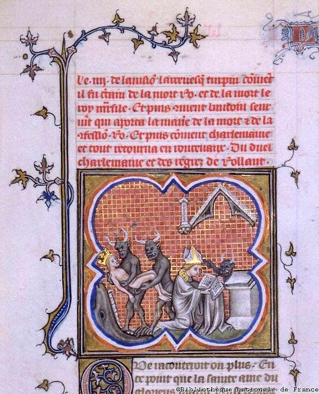 Visão do arcebispo Turpin, vendo ao rei islâmico Marsile, inimigo de Carlos Magno levado ao inferno pelos demônios, Bibliothèque National de France, doc. FR2813_01_038