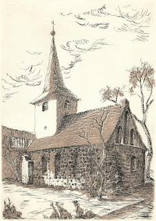 it Birgit Horota-Müller: Alte Pfarrkirche Lichtenberg, Strichätzung, Aquatinta, 2007