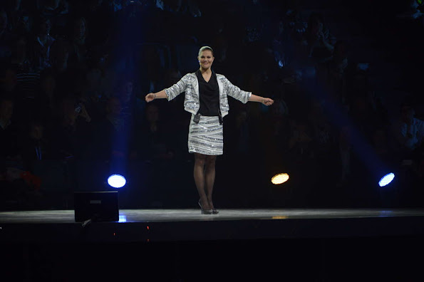 Princess Victoria wore a white and silver skirt and matching jacket, with a black satin top, from Swedish label Hunkydory