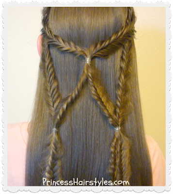 Braided hairstyle tutorial, angel wings fishtail braid tie back