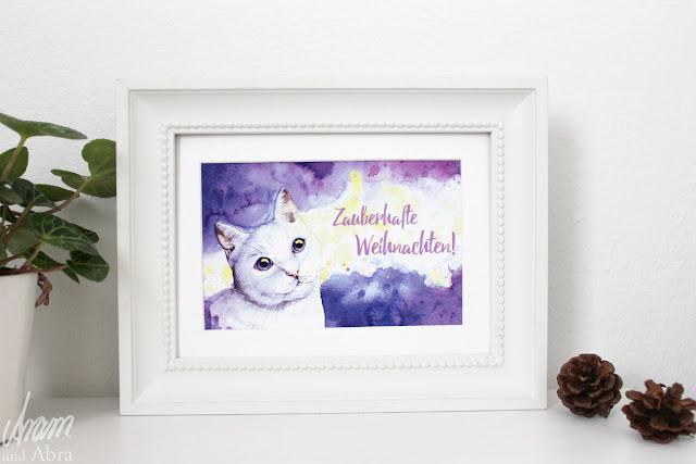 weihnachtskarte katze aquarell