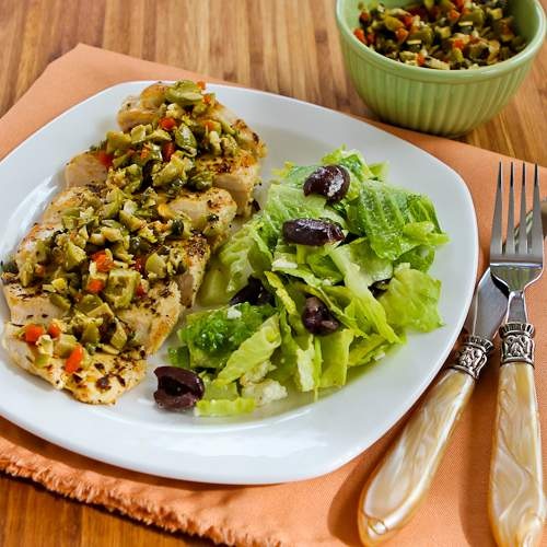 Pan-Grilled Chicken with Green Olive, Caper, and Lemon Relish found on KalynsKitchen.com