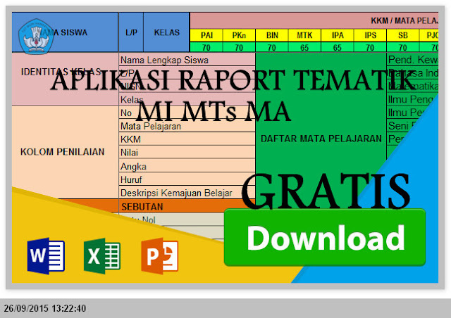 Download Aplikasi Raport TEMATIK MI MTs MA Kurikulum 2013