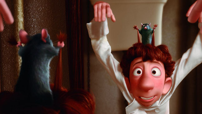 Remy and Linguini working on their signals in Ratatouille animatedfilmreviews.filminspector.com
