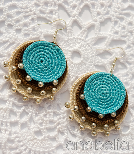 Boho turquoise crochet earrings by Anabelia