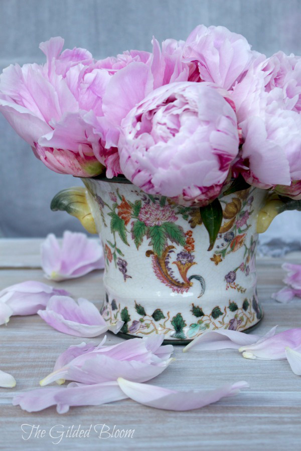 Pink Peonies in Decorative Pot- www.gildedbloom.com
