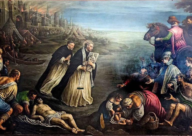 São Jacinto foge de Kiev em chamas salvando a Eucaristia e a imagem de Nossa Senhora. Leandro Bassano (1557-1622), igreja de São João e São Paulo, Veneza