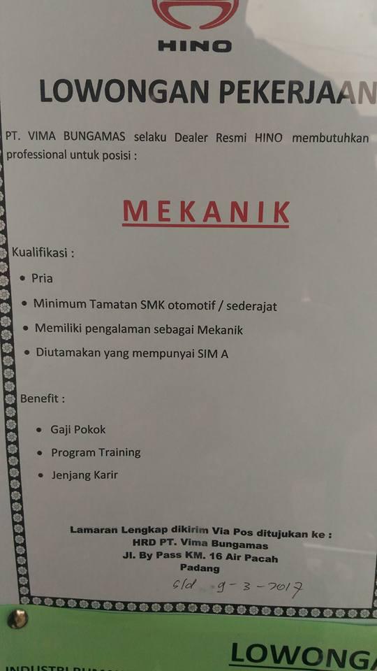 Lowongan Kerja di Padang – PT.Vima Bungamas (Maret 2017)