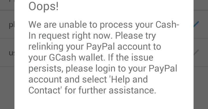 Dropped like a Hatputito: GCash   Cash In From PayPal Not Appearing