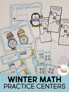 Winter math centers plus a few winter FREEBIES- blog post highlighting hands-on activities for kids