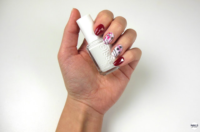 "Nails All Over - Nails All Over - Essence Studio Nails 24/7 Nail Base -  Essie ""Blanc"" -  Essie ""Forever Yummy"" -  Essie ""Ignite The Night"" -  Herzchen Steine/Pailleten -  Seche Vity Dry Fast Top Coat"