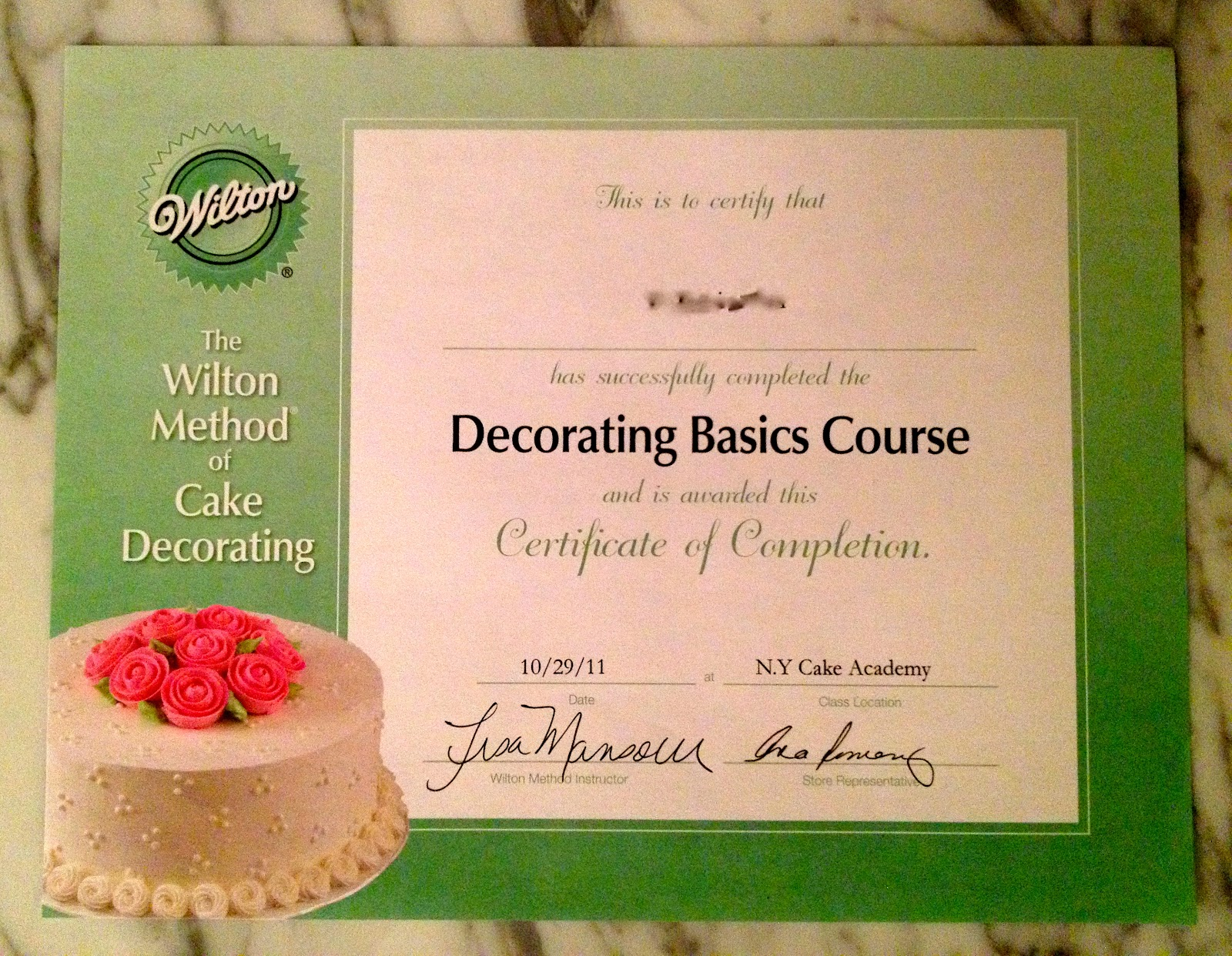 Course Certificate Cake Baking And Decorating