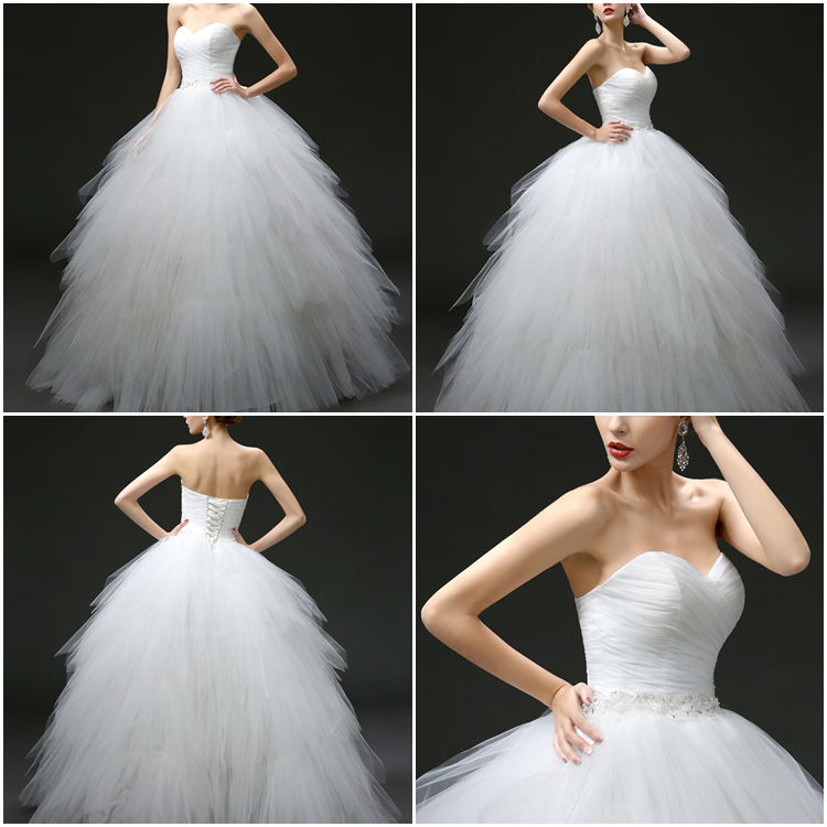 Simple Style Pretty Strapless Sweetheart Neckline Lace-Up Ball Gown Wedding Dress