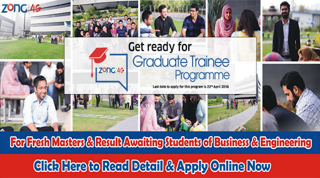 Zong Graduate Trainee Program for Fresh Masters in Pakistan