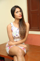 Nishi Ganda stunning cute in Flower Print short dress at Tick Tack Movie Press Meet March 2017 008.JPG