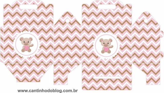 Caja Lunch para Imprimir Gratis de Osito Bebé con Corazón Rosa.