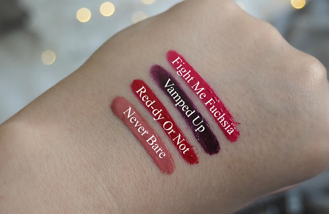 A picture of Maybellines new Colour Drama Intense Lip Paints Swatched