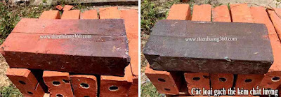 Cách phân biệt gạch: Gạch thẻ loại 2 và loại 3 kém chất lượng, có màu đen xạm, gạch không đều màu