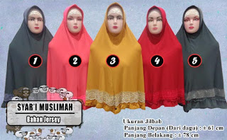 Jilbab syari muslimah murah variasi renda bahan jersey