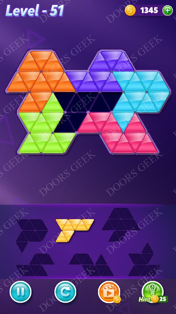Block! Triangle Puzzle Intermediate Level 51 Solution, Cheats, Walkthrough for Android, iPhone, iPad and iPod